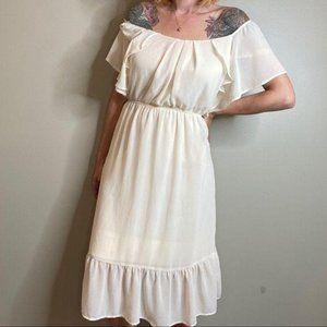 MONTEAU Off Shoulder Peasant Dress White XL